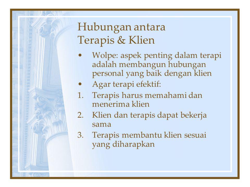 Hubungan antara Terapis & Klien Wolpe: aspek penting dalam terapi adalah membangun hubungan personal yang baik dengan klien Agar terapi efektif: 1.Ter