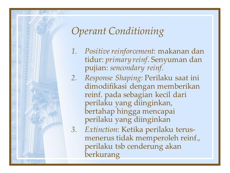 Operant Conditioning 1.Positive reinforcement: makanan dan tidur: primary reinf. Senyuman dan pujian: sencondary reinf. 2.Response Shaping: Perilaku s