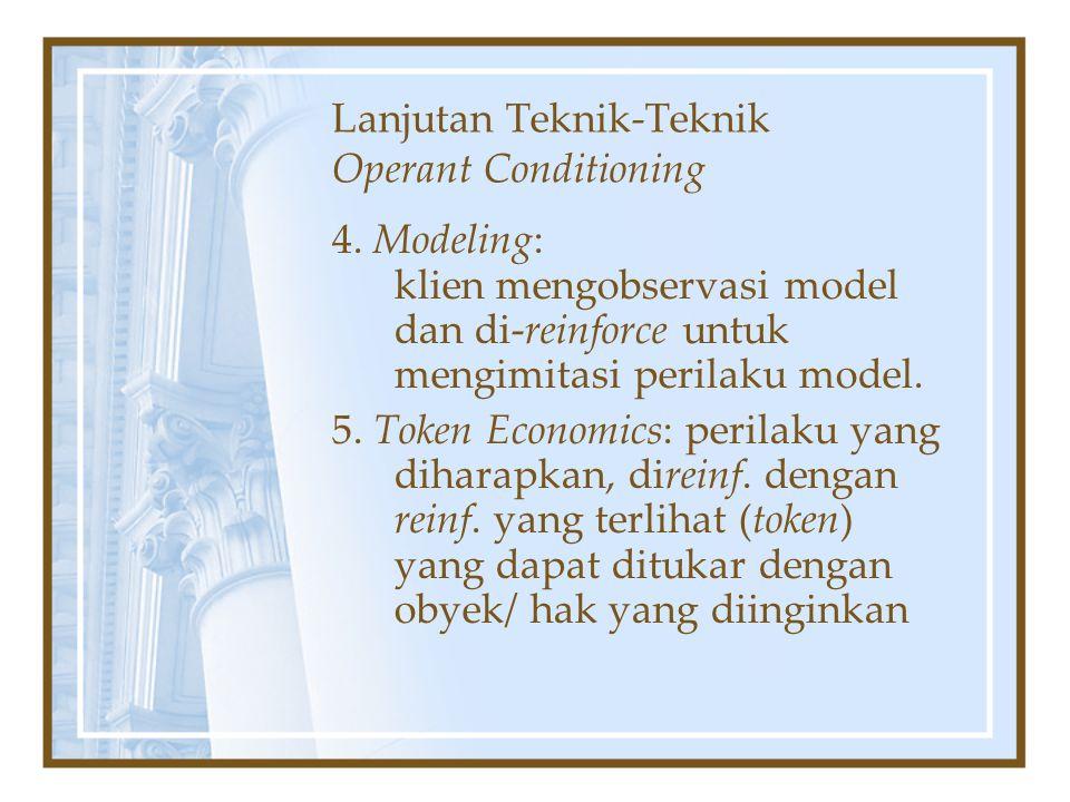 Lanjutan Teknik-Teknik Operant Conditioning 4. Modeling: klien mengobservasi model dan di-reinforce untuk mengimitasi perilaku model. 5. Token Economi
