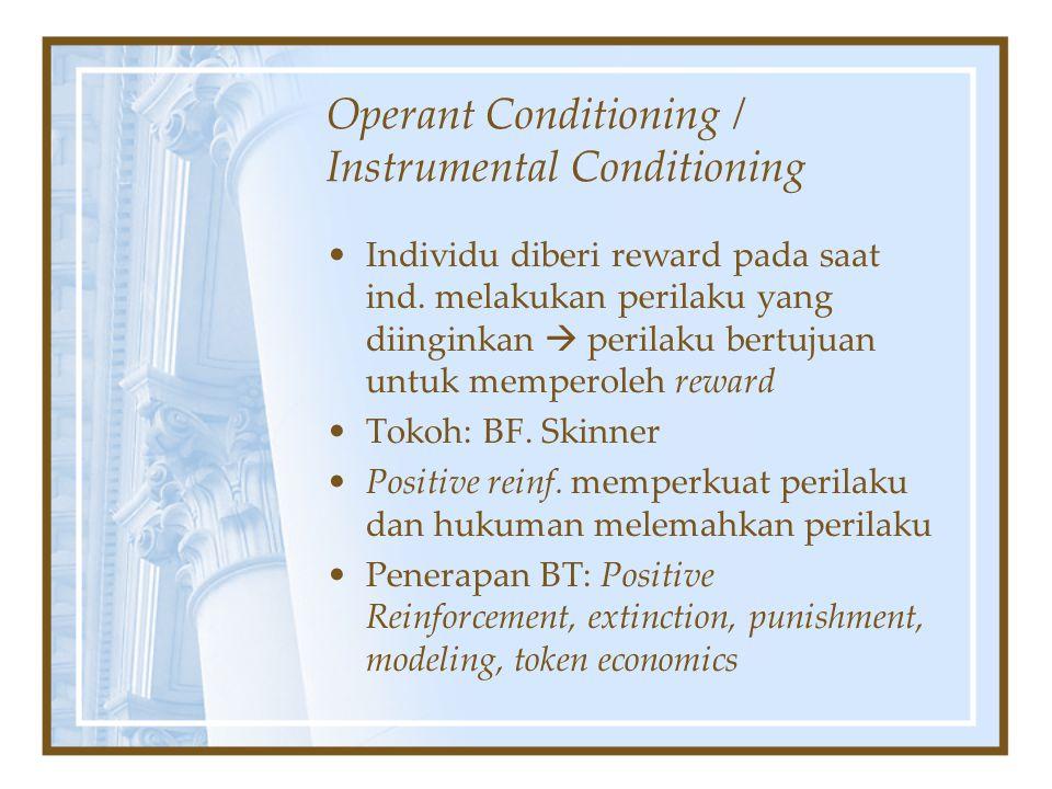 Operant Conditioning / Instrumental Conditioning Individu diberi reward pada saat ind. melakukan perilaku yang diinginkan  perilaku bertujuan untuk m