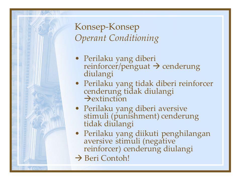 Konsep-Konsep Operant Conditioning Perilaku yang diberi reinforcer/penguat  cenderung diulangi Perilaku yang tidak diberi reinforcer cenderung tidak