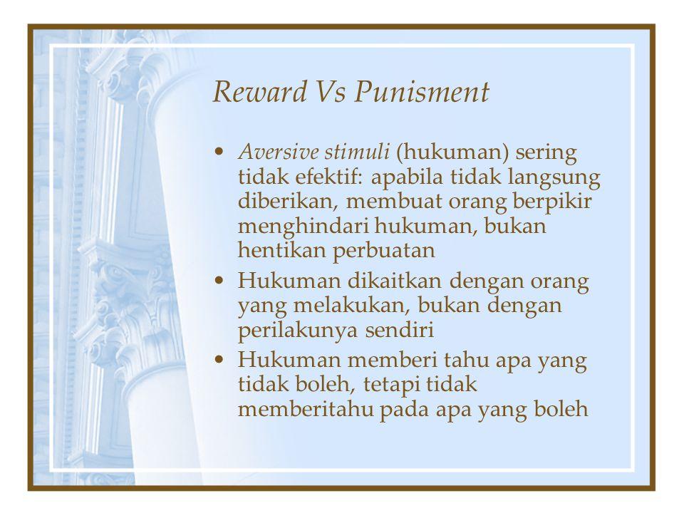 Reward Vs Punisment Aversive stimuli (hukuman) sering tidak efektif: apabila tidak langsung diberikan, membuat orang berpikir menghindari hukuman, buk