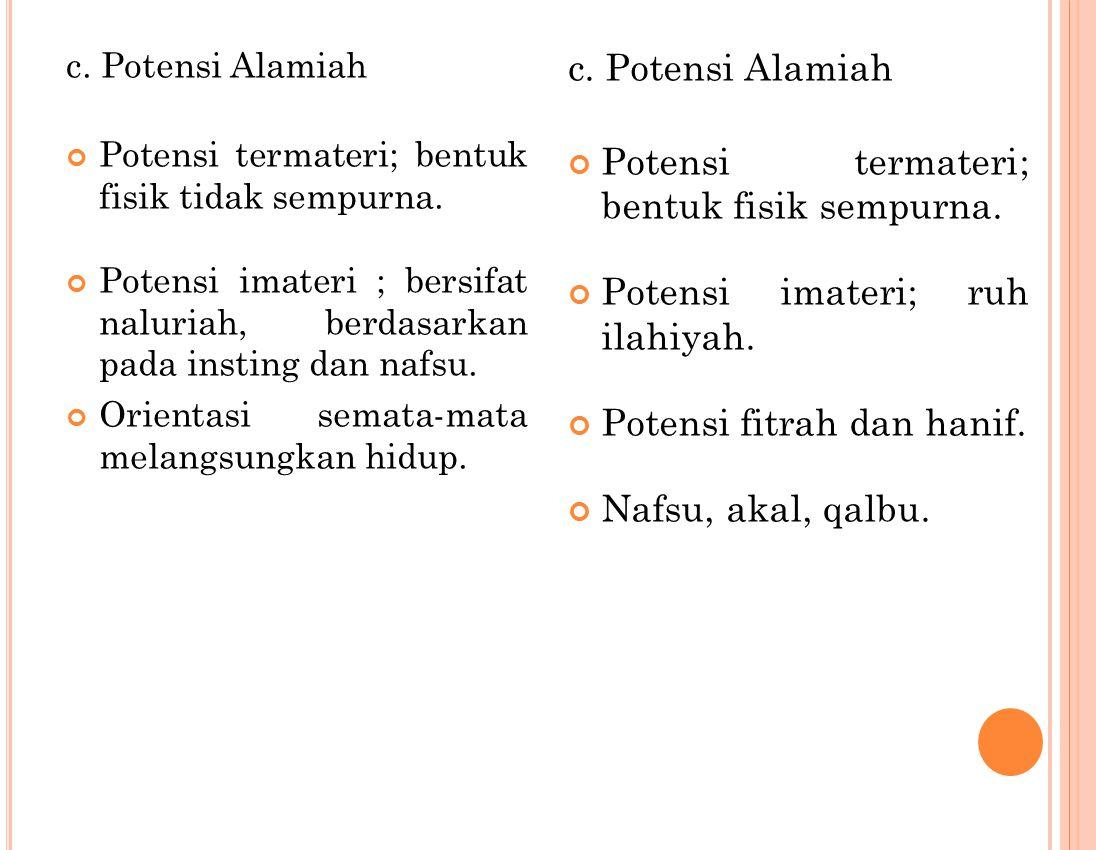 c. Potensi Alamiah Potensi termateri; bentuk fisik tidak sempurna. Potensi imateri ; bersifat naluriah, berdasarkan pada insting dan nafsu. Orientasi