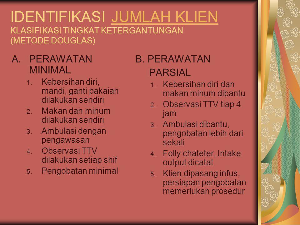 IDENTIFIKASI JUMLAH KLIEN KLASIFIKASI TINGKAT KETERGANTUNGAN (METODE DOUGLAS)JUMLAH KLIEN A.PERAWATAN MINIMAL 1.