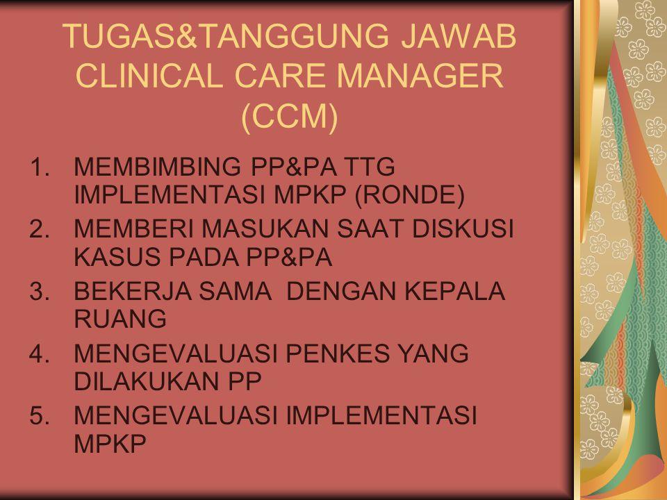 TUGAS&TANGGUNG JAWAB CLINICAL CARE MANAGER (CCM) 1.MEMBIMBING PP&PA TTG IMPLEMENTASI MPKP (RONDE) 2.MEMBERI MASUKAN SAAT DISKUSI KASUS PADA PP&PA 3.BEKERJA SAMA DENGAN KEPALA RUANG 4.MENGEVALUASI PENKES YANG DILAKUKAN PP 5.MENGEVALUASI IMPLEMENTASI MPKP