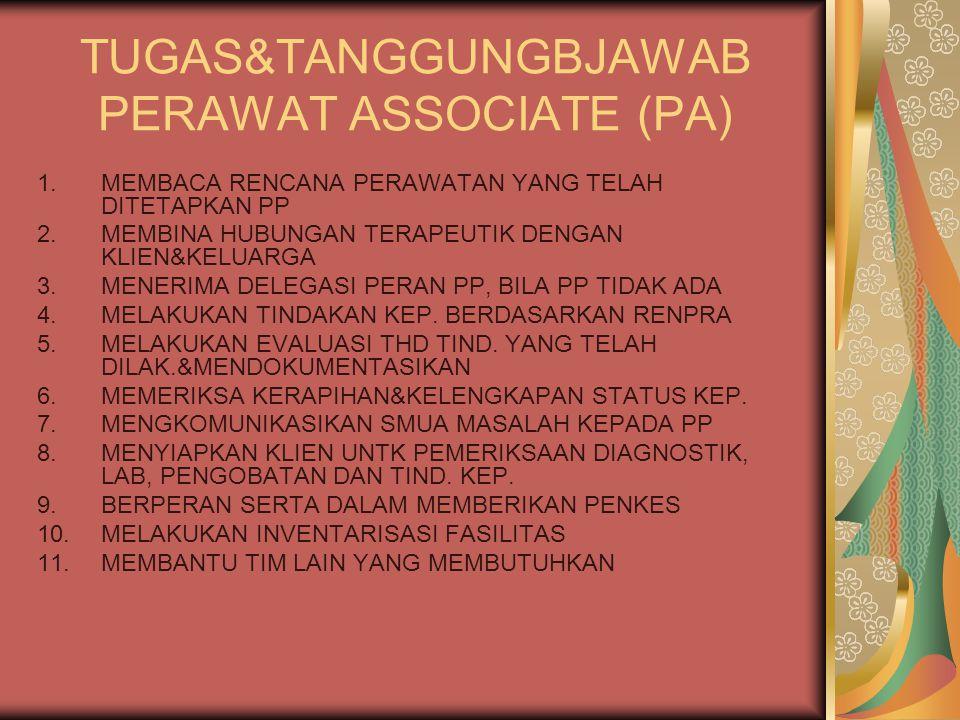TUGAS&TANGGUNGBJAWAB PERAWAT ASSOCIATE (PA) 1.MEMBACA RENCANA PERAWATAN YANG TELAH DITETAPKAN PP 2.MEMBINA HUBUNGAN TERAPEUTIK DENGAN KLIEN&KELUARGA 3.MENERIMA DELEGASI PERAN PP, BILA PP TIDAK ADA 4.MELAKUKAN TINDAKAN KEP.