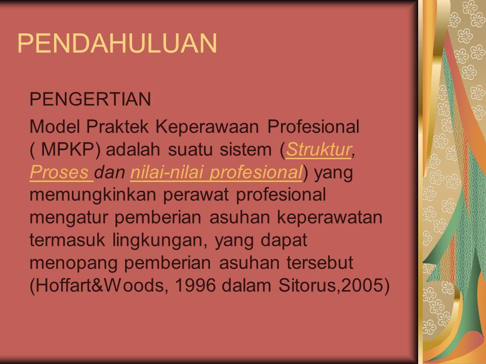 PENDAHULUAN PENGERTIAN Model Praktek Keperawaan Profesional ( MPKP) adalah suatu sistem (Struktur, Proses dan nilai-nilai profesional) yang memungkinkan perawat profesional mengatur pemberian asuhan keperawatan termasuk lingkungan, yang dapat menopang pemberian asuhan tersebut (Hoffart&Woods, 1996 dalam Sitorus,2005)Struktur Proses nilai-nilai profesional
