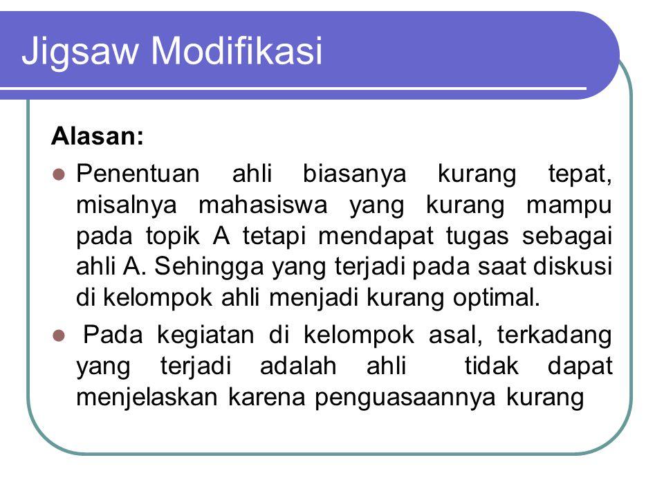 Jigsaw Modifikasi Alasan: Penentuan ahli biasanya kurang tepat, misalnya mahasiswa yang kurang mampu pada topik A tetapi mendapat tugas sebagai ahli A