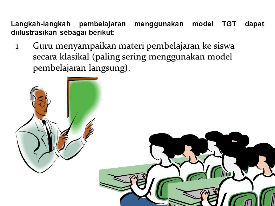 Langkah-langkah pembelajaran menggunakan model TGT dapat diilustrasikan sebagai berikut: 1Guru menyampaikan materi pembelajaran ke siswa secara klasik
