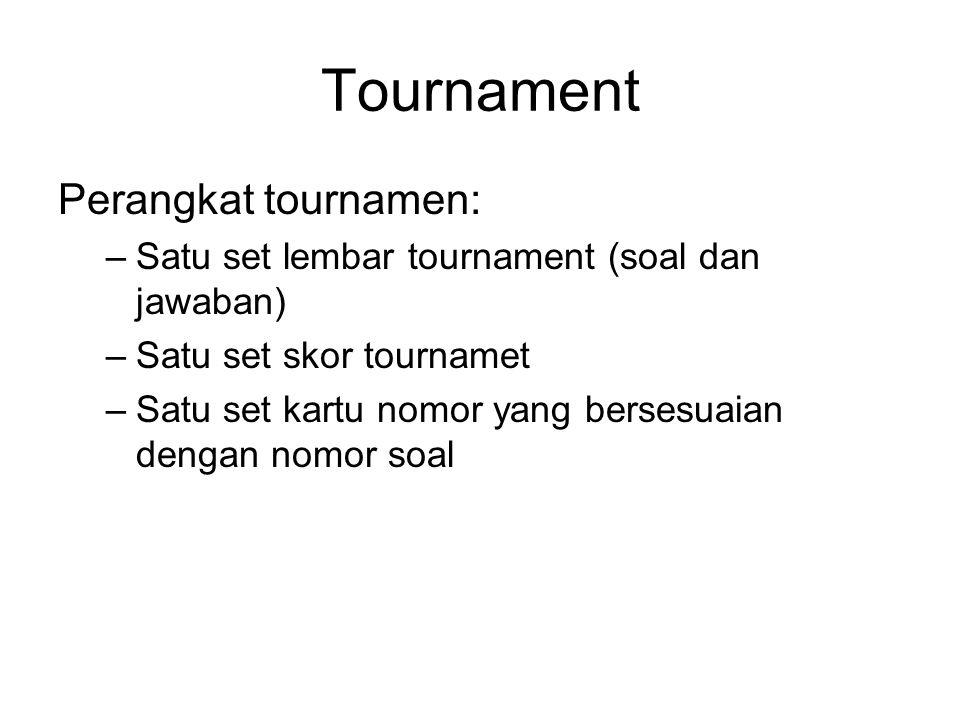 Tournament Perangkat tournamen: –Satu set lembar tournament (soal dan jawaban) –Satu set skor tournamet –Satu set kartu nomor yang bersesuaian dengan