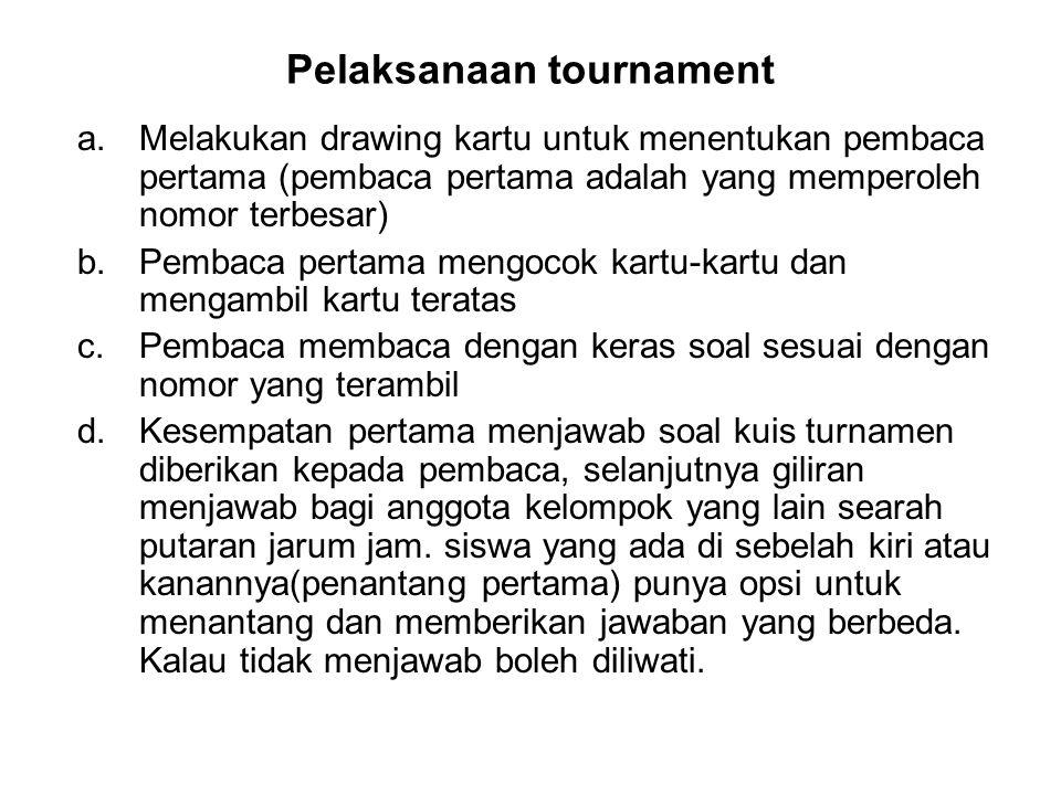 Pelaksanaan tournament a.Melakukan drawing kartu untuk menentukan pembaca pertama (pembaca pertama adalah yang memperoleh nomor terbesar) b.Pembaca pe