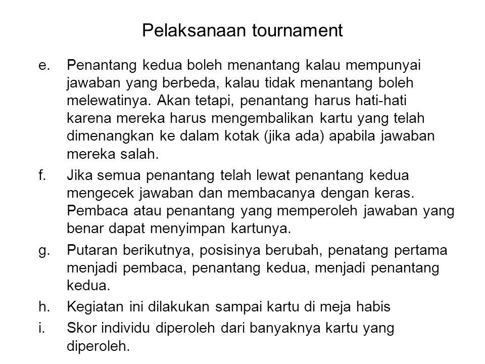 Pelaksanaan tournament e.Penantang kedua boleh menantang kalau mempunyai jawaban yang berbeda, kalau tidak menantang boleh melewatinya. Akan tetapi, p