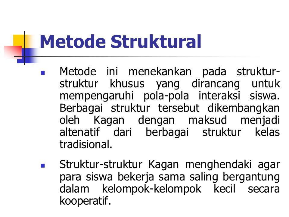 Metode Struktural Metode ini menekankan pada struktur- struktur khusus yang dirancang untuk mempengaruhi pola-pola interaksi siswa. Berbagai struktur
