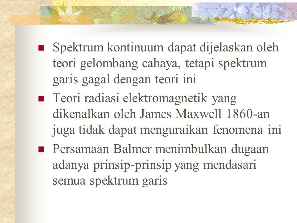 Spektrum kontinuum dapat dijelaskan oleh teori gelombang cahaya, tetapi spektrum garis gagal dengan teori ini Teori radiasi elektromagnetik yang dikenalkan oleh James Maxwell 1860-an juga tidak dapat menguraikan fenomena ini Persamaan Balmer menimbulkan dugaan adanya prinsip-prinsip yang mendasari semua spektrum garis