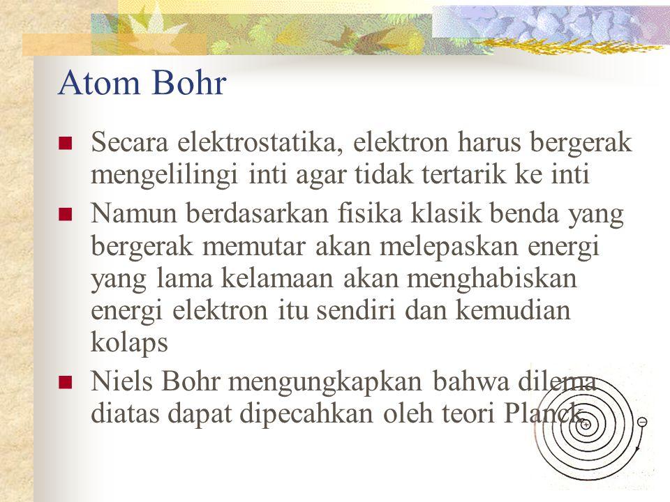 Atom Bohr Secara elektrostatika, elektron harus bergerak mengelilingi inti agar tidak tertarik ke inti Namun berdasarkan fisika klasik benda yang bergerak memutar akan melepaskan energi yang lama kelamaan akan menghabiskan energi elektron itu sendiri dan kemudian kolaps Niels Bohr mengungkapkan bahwa dilema diatas dapat dipecahkan oleh teori Planck