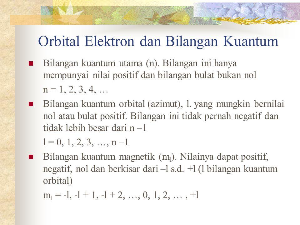 Orbital Elektron dan Bilangan Kuantum Bilangan kuantum utama (n). Bilangan ini hanya mempunyai nilai positif dan bilangan bulat bukan nol n = 1, 2, 3,