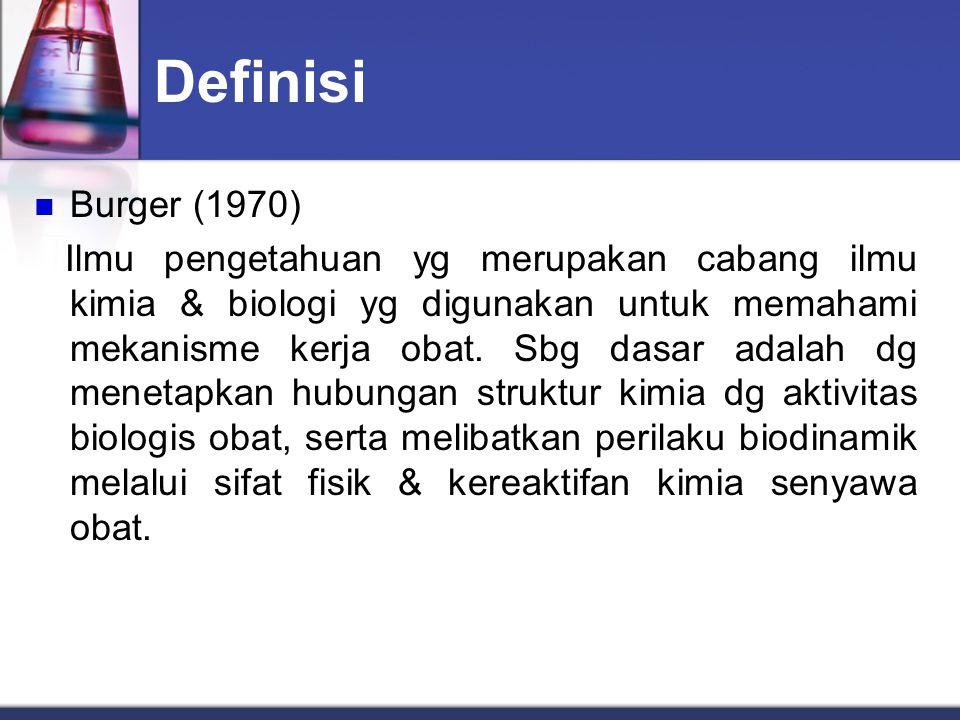 Definisi Burger (1970) Ilmu pengetahuan yg merupakan cabang ilmu kimia & biologi yg digunakan untuk memahami mekanisme kerja obat. Sbg dasar adalah dg