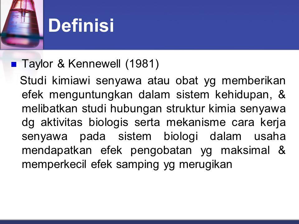 Definisi IUPAC (1974) Ilmu pengetahuan yg mempelajari penemuan, pengembangan, identifikasi & interpretasi cara kerja senyawa biologis aktif obat pada tingkat molekul.