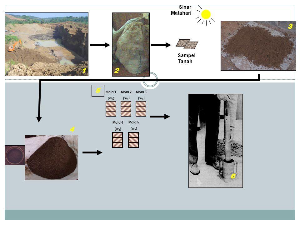 Sampel Tanah Sinar Matahari Mold 1 (w 1 ) Mold 2 (w 2 ) Mold 3 (w 3 ) Mold 5 (w 5 ) Mold 4 (w 4 ) 1 2 3 4 5 6