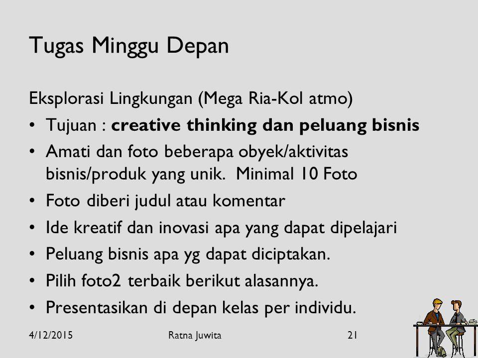 Tugas Minggu Depan Eksplorasi Lingkungan (Mega Ria-Kol atmo) Tujuan : creative thinking dan peluang bisnis Amati dan foto beberapa obyek/aktivitas bisnis/produk yang unik.
