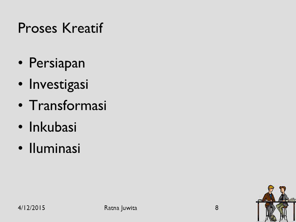 Proses Kreatif Persiapan Investigasi Transformasi Inkubasi Iluminasi 4/12/20158Ratna Juwita