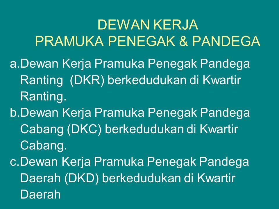 DEWAN KERJA PRAMUKA PENEGAK & PANDEGA a.Dewan Kerja Pramuka Penegak Pandega Ranting (DKR) berkedudukan di Kwartir Ranting. b.Dewan Kerja Pramuka Peneg