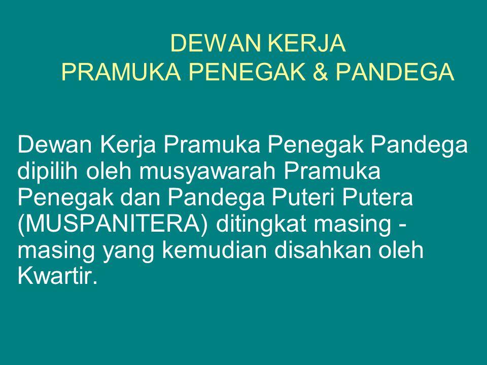 DEWAN KERJA PRAMUKA PENEGAK & PANDEGA Dewan Kerja Pramuka Penegak Pandega dipilih oleh musyawarah Pramuka Penegak dan Pandega Puteri Putera (MUSPANITE
