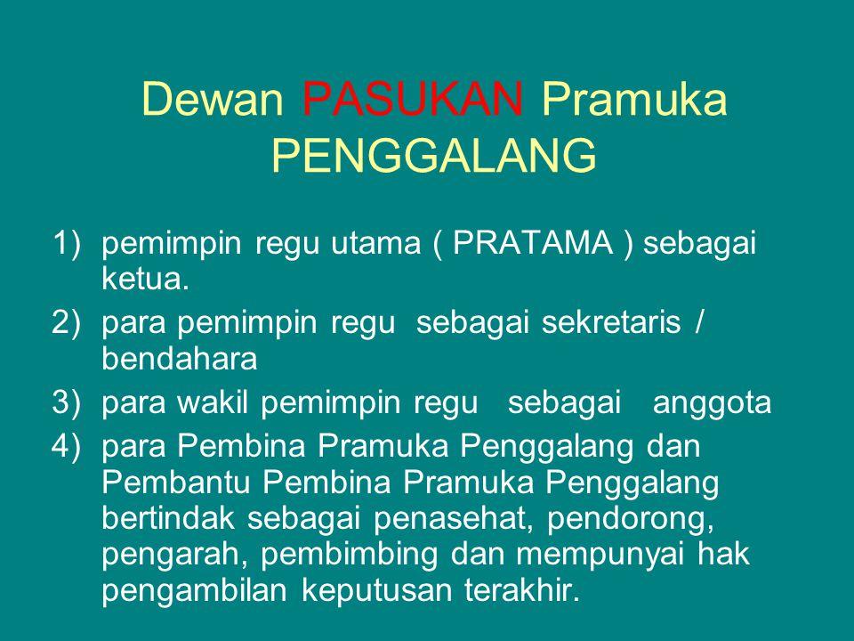 Dewan PASUKAN Pramuka PENGGALANG 1)pemimpin regu utama ( PRATAMA ) sebagai ketua. 2)para pemimpin regu sebagai sekretaris / bendahara 3)para wakil pem