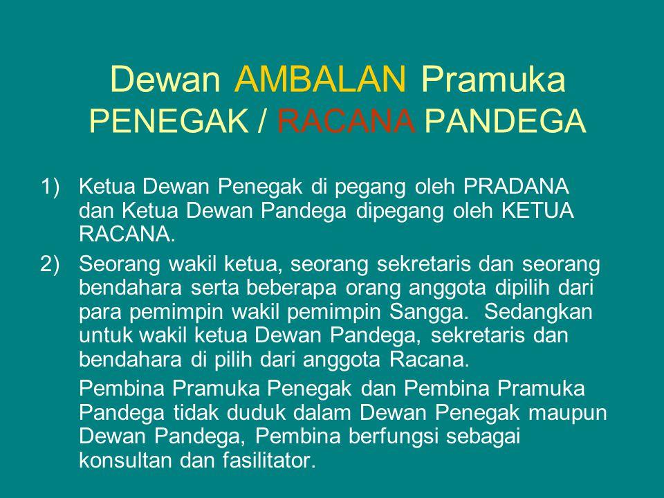 Dewan AMBALAN Pramuka PENEGAK / RACANA PANDEGA 1)Ketua Dewan Penegak di pegang oleh PRADANA dan Ketua Dewan Pandega dipegang oleh KETUA RACANA. 2)Seor