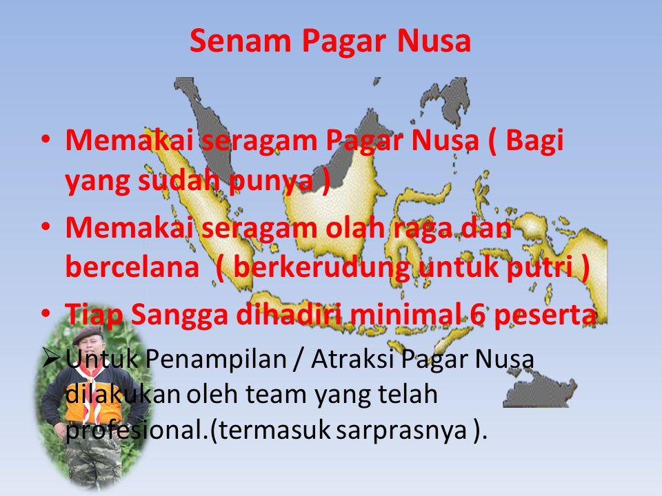 Senam Pagar Nusa Memakai seragam Pagar Nusa ( Bagi yang sudah punya ) Memakai seragam olah raga dan bercelana ( berkerudung untuk putri ) Tiap Sangga dihadiri minimal 6 peserta  Untuk Penampilan / Atraksi Pagar Nusa dilakukan oleh team yang telah profesional.(termasuk sarprasnya ).