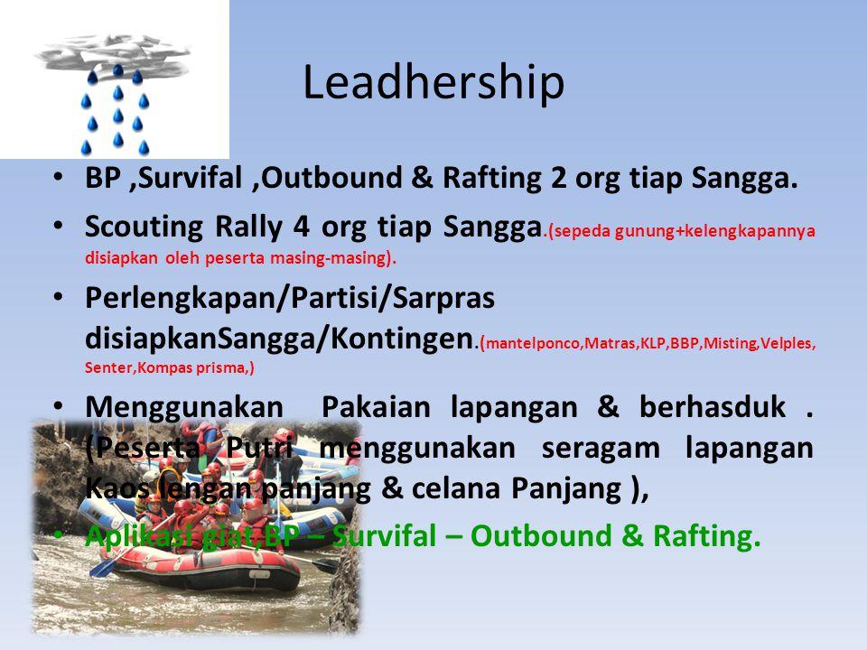 BP,Survifal,Outbound & Rafting 2 org tiap Sangga. Scouting Rally 4 org tiap Sangga.(sepeda gunung+kelengkapannya disiapkan oleh peserta masing-masing)