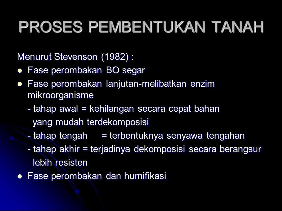 PROSES PEMBENTUKAN TANAH Menurut Stevenson (1982) : Fase perombakan BO segar Fase perombakan BO segar Fase perombakan lanjutan-melibatkan enzim mikroorganisme Fase perombakan lanjutan-melibatkan enzim mikroorganisme - tahap awal = kehilangan secara cepat bahan yang mudah terdekomposisi yang mudah terdekomposisi - tahap tengah= terbentuknya senyawa tengahan - tahap akhir = terjadinya dekomposisi secara berangsur lebih resisten lebih resisten Fase perombakan dan humifikasi Fase perombakan dan humifikasi