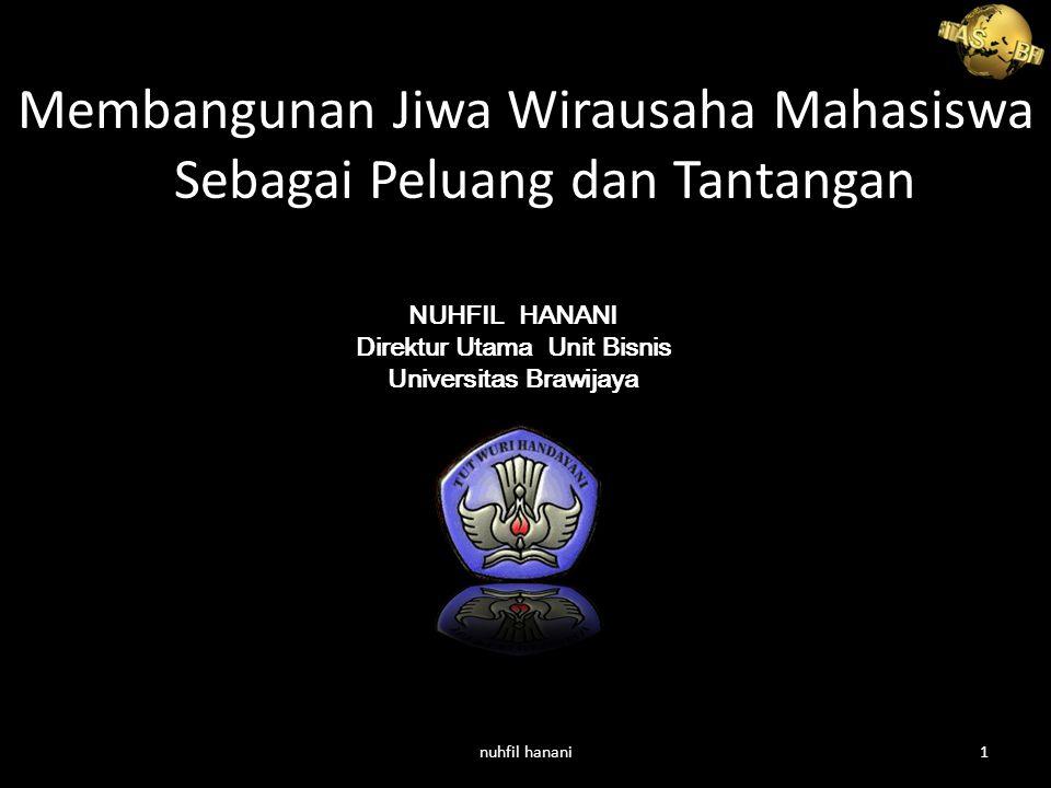 Membangunan Jiwa Wirausaha Mahasiswa Sebagai Peluang dan Tantangan NUHFIL HANANI Direktur Utama Unit Bisnis Universitas Brawijaya nuhfil hanani1