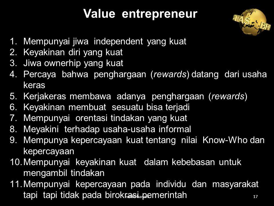 Value entrepreneur 1.Mempunyai jiwa independent yang kuat 2.Keyakinan diri yang kuat 3.Jiwa ownerhip yang kuat 4.Percaya bahwa penghargaan (rewards) datang dari usaha keras 5.Kerjakeras membawa adanya penghargaan (rewards) 6.Keyakinan membuat sesuatu bisa terjadi 7.Mempunyai orentasi tindakan yang kuat 8.Meyakini terhadap usaha-usaha informal 9.Mempunya kepercayaan kuat tentang nilai Know-Who dan kepercayaan 10.Mempunyai keyakinan kuat dalam kebebasan untuk mengambil tindakan 11.Mempunyai kepercayaan pada individu dan masyarakat tapi tapi tidak pada birokrasi pemerintah nuhfil hanani17