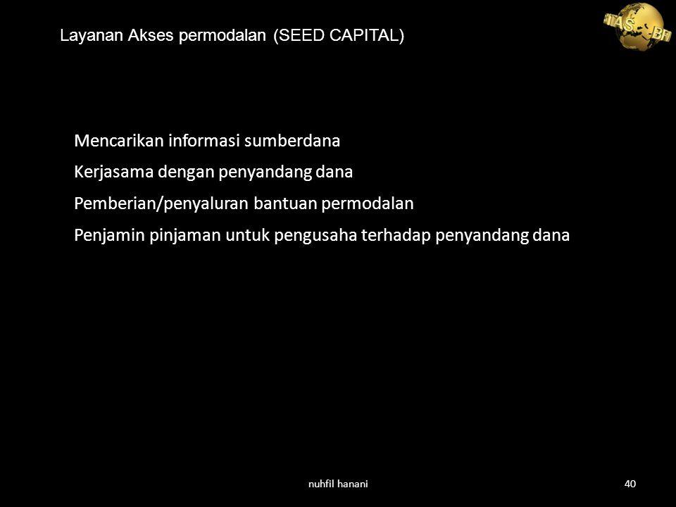 Layanan Akses permodalan (SEED CAPITAL) Mencarikan informasi sumberdana Kerjasama dengan penyandang dana Pemberian/penyaluran bantuan permodalan Penjamin pinjaman untuk pengusaha terhadap penyandang dana nuhfil hanani40