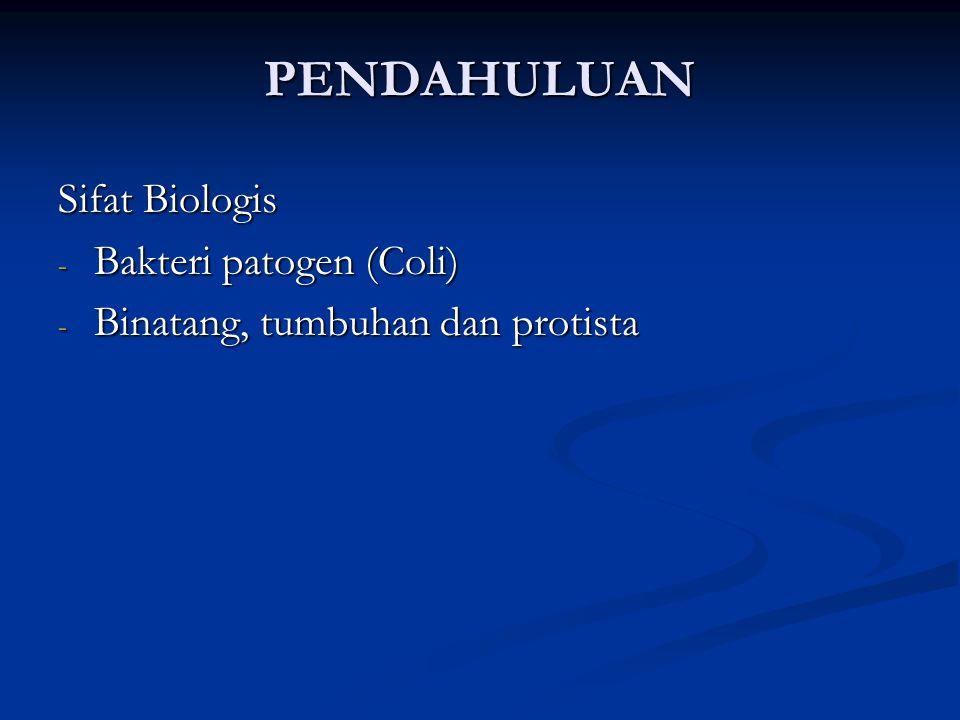 PENDAHULUAN Sifat Biologis - Bakteri patogen (Coli) - Binatang, tumbuhan dan protista