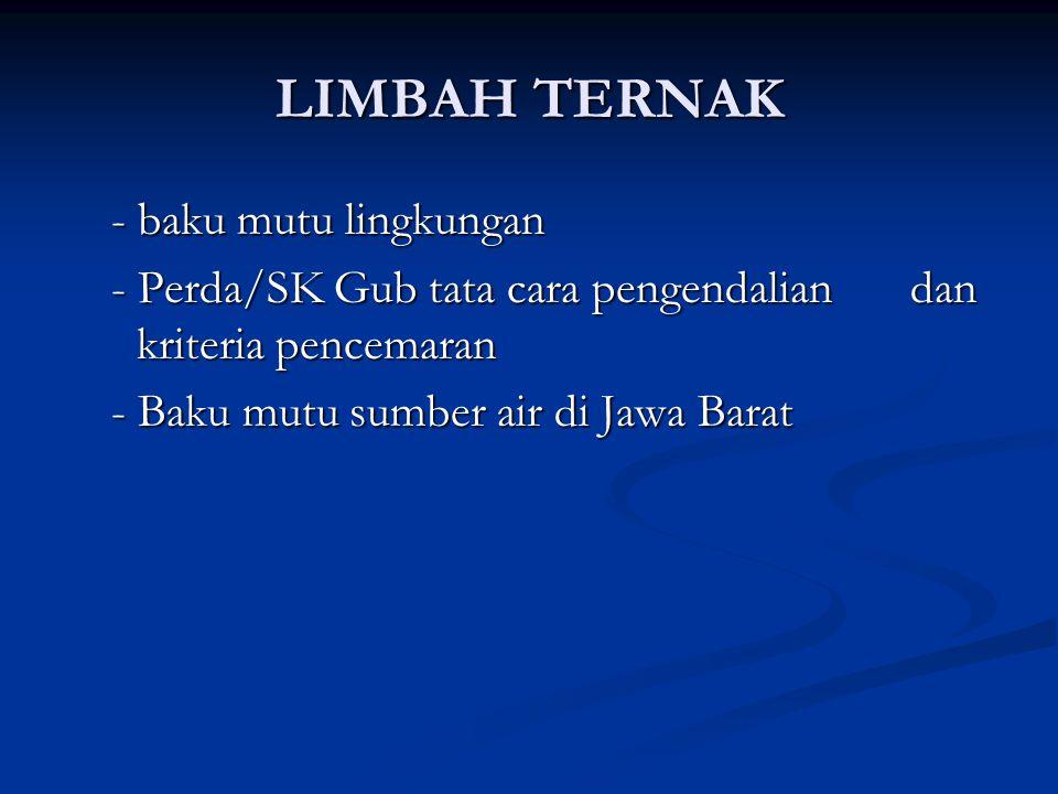 LIMBAH TERNAK - baku mutu lingkungan - baku mutu lingkungan - Perda/SK Gub tata cara pengendalian dan kriteria pencemaran - Perda/SK Gub tata cara pengendalian dan kriteria pencemaran - Baku mutu sumber air di Jawa Barat - Baku mutu sumber air di Jawa Barat