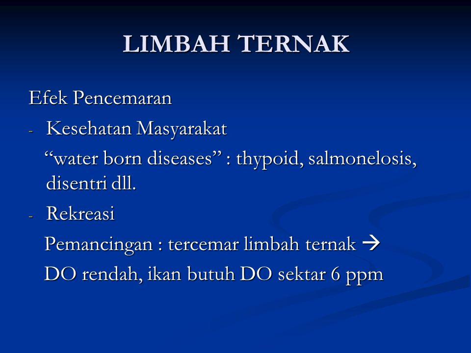 LIMBAH TERNAK Efek Pencemaran - Kesehatan Masyarakat water born diseases : thypoid, salmonelosis, disentri dll.