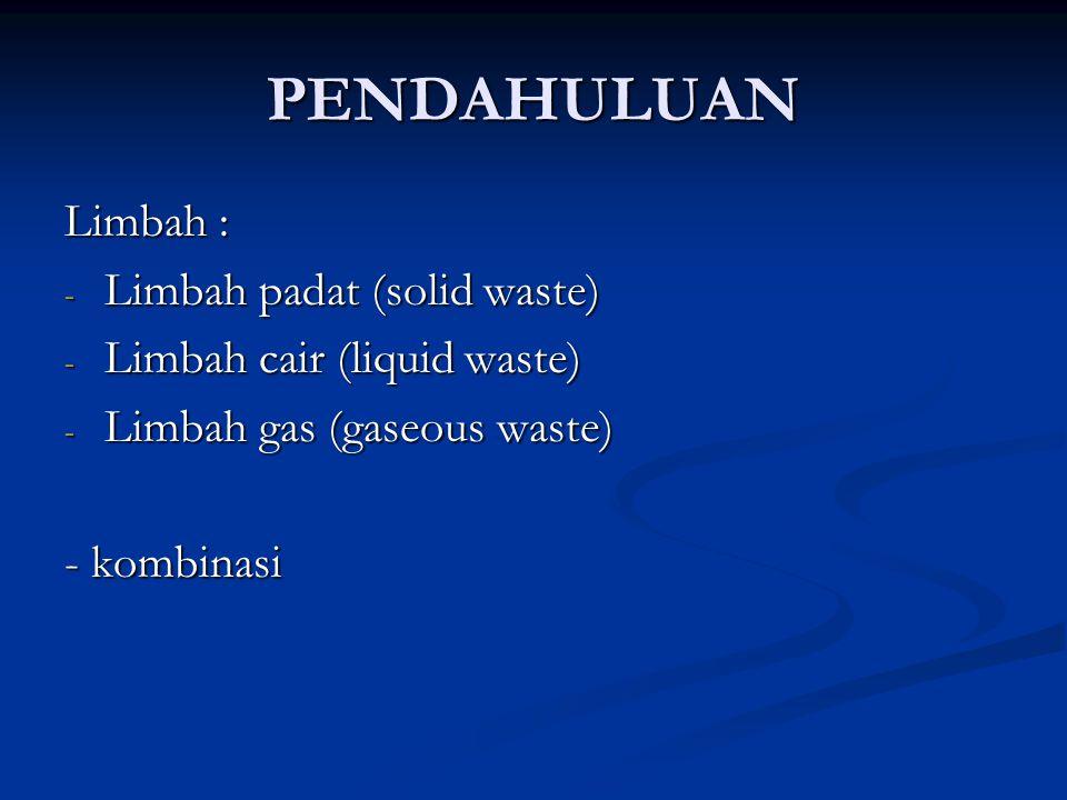 PENDAHULUAN Limbah : - Limbah padat (solid waste) - Limbah cair (liquid waste) - Limbah gas (gaseous waste) - kombinasi