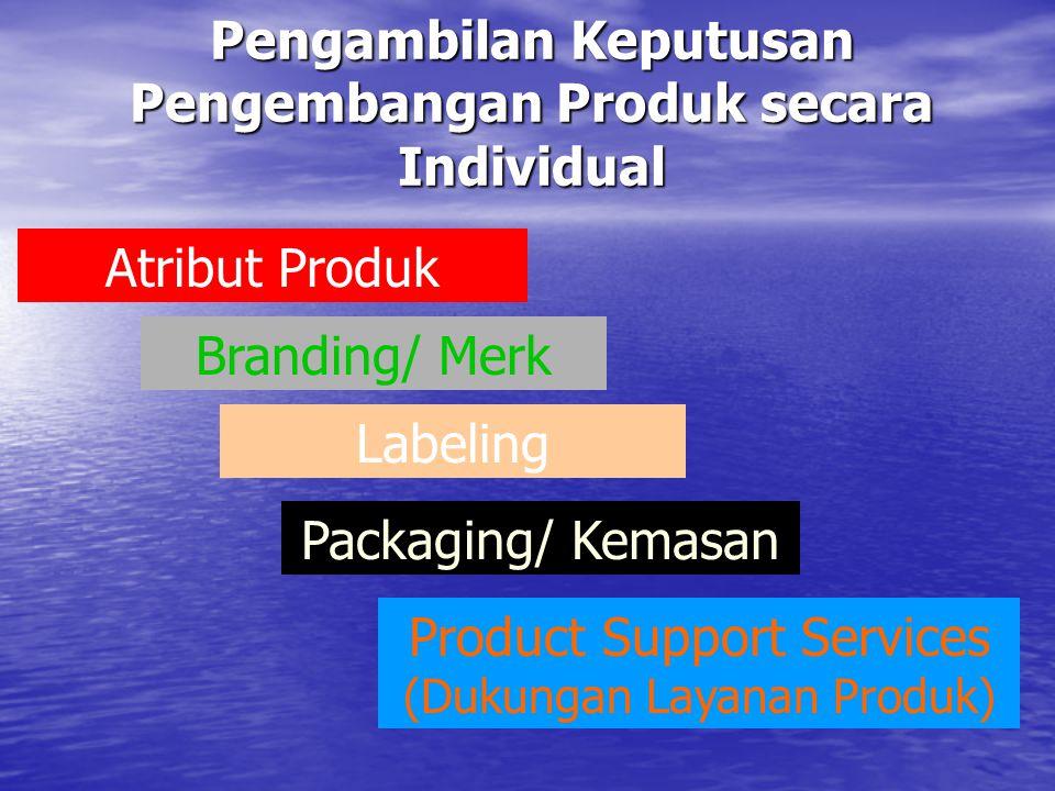 Pengambilan Keputusan Pengembangan Produk secara Individual Atribut Produk Branding/ Merk Packaging/ Kemasan Labeling Product Support Services (Dukung