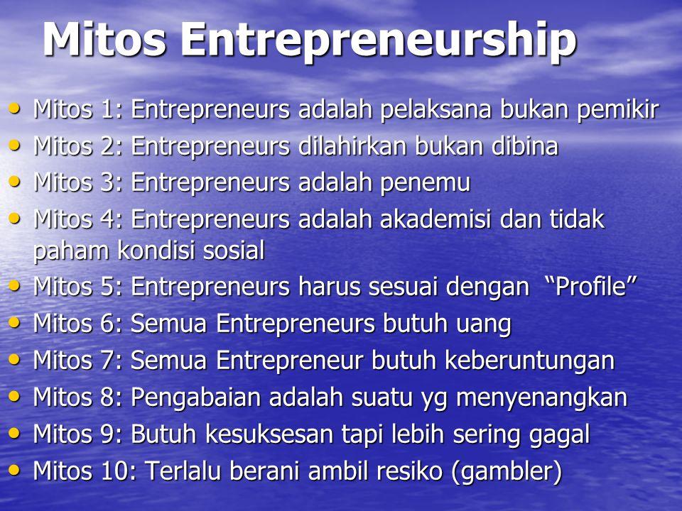 Mitos Entrepreneurship Mitos 1: Entrepreneurs adalah pelaksana bukan pemikir Mitos 1: Entrepreneurs adalah pelaksana bukan pemikir Mitos 2: Entreprene