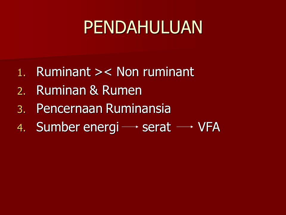 PENDAHULUAN 1. Ruminant > < Non ruminant 2. Ruminan & Rumen 3. Pencernaan Ruminansia 4. Sumber energi serat VFA