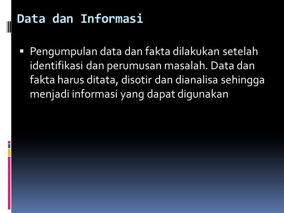 Data dan Informasi  Pengumpulan data dan fakta dilakukan setelah identifikasi dan perumusan masalah. Data dan fakta harus ditata, disotir dan dianali