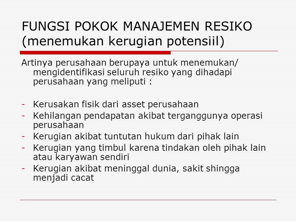 FUNGSI POKOK MANAJEMEN RESIKO (menemukan kerugian potensiil) Artinya perusahaan berupaya untuk menemukan/ mengidentifikasi seluruh resiko yang dihadap