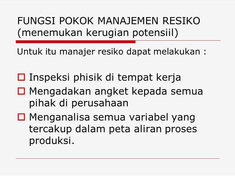 FUNGSI POKOK MANAJEMEN RESIKO (mengevaluasi kerugian potensiil) Artinya melakukan evaluasi dan penilaian terhadap semua kerugian yang dihadapi perusahaan.