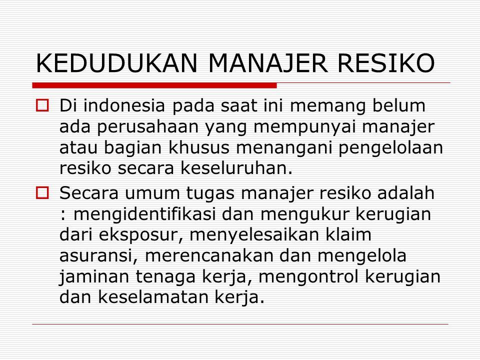 KEDUDUKAN MANAJER RESIKO  Di indonesia pada saat ini memang belum ada perusahaan yang mempunyai manajer atau bagian khusus menangani pengelolaan resi