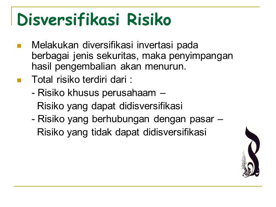 Disversifikasi Risiko Melakukan diversifikasi invertasi pada berbagai jenis sekuritas, maka penyimpangan hasil pengembalian akan menurun. Total risiko