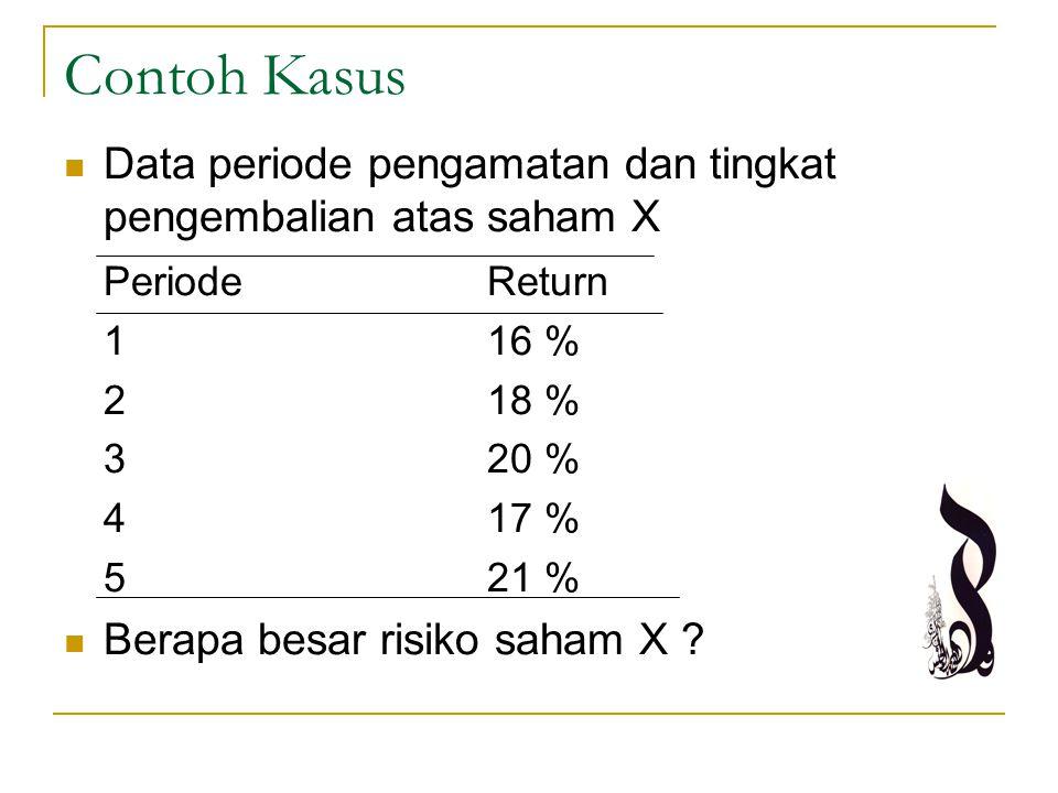 Contoh Kasus Data periode pengamatan dan tingkat pengembalian atas saham X PeriodeReturn 116 % 218 % 320 % 417 % 5 21 % Berapa besar risiko saham X ?
