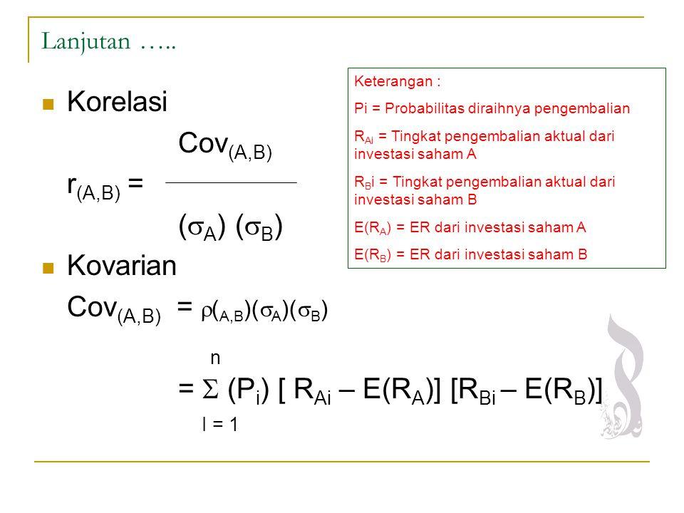 Lanjutan ….. Korelasi Cov (A,B) r (A,B) = (  A ) (  B ) Kovarian Cov (A,B) =  ( A,B )(  A )(  B ) n =  (P i ) [ R Ai – E(R A )] [R Bi – E(R B )]