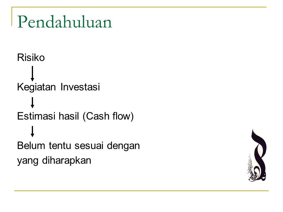 Pendahuluan Estimasi hasil (Cash flow) Belum tentu sesuai dengan yang diharapkan Disebakan oleh faktor- faktor tertentu Dapat diramal Tidak dapat diramal Risiko Ketidakpastian